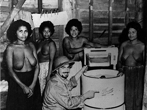 WWII Pictures - Navy Laundry in Dutch New Guinea